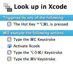 Look up in xcode